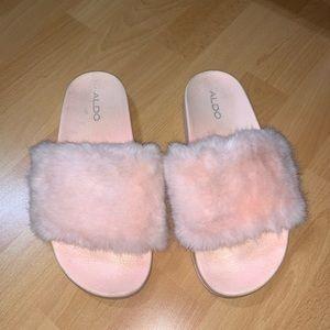 Pink Fuzzy Slides